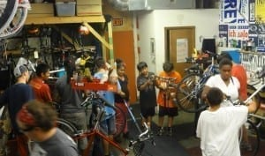 An open bike workshop at West Town Bikes.