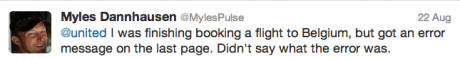 Myles United Airlines response message