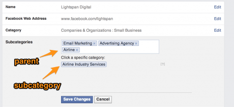 Facebook Subcategories as of July 2014