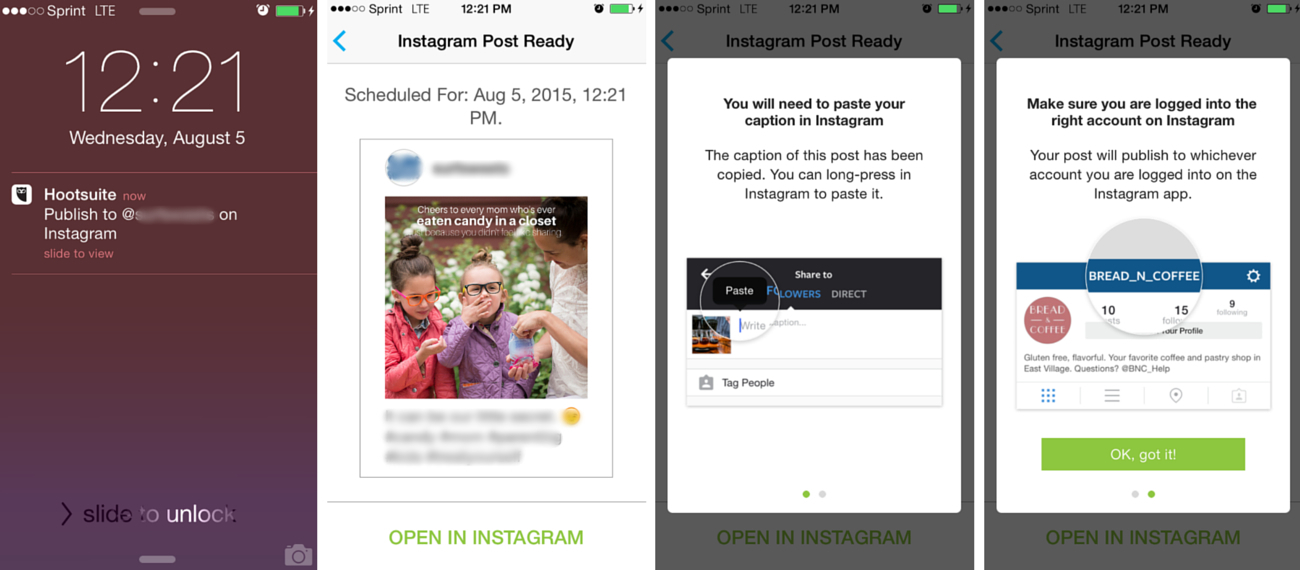 Steps to post scheduled content on Instagram from Hootsuite