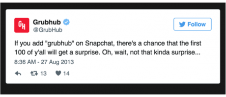 grubhub offer on snapchat to get followers