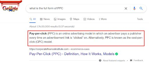 Voice search results come from featured snippets