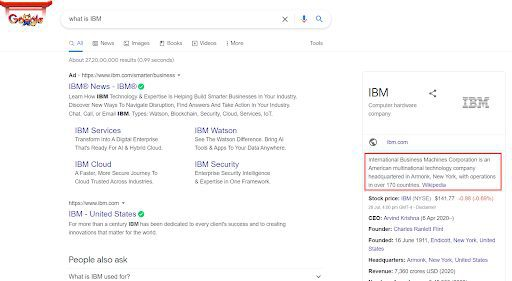 Voice search results come from knowledge panel