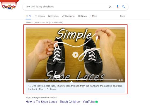 Voice search results pick videos from the featured video section